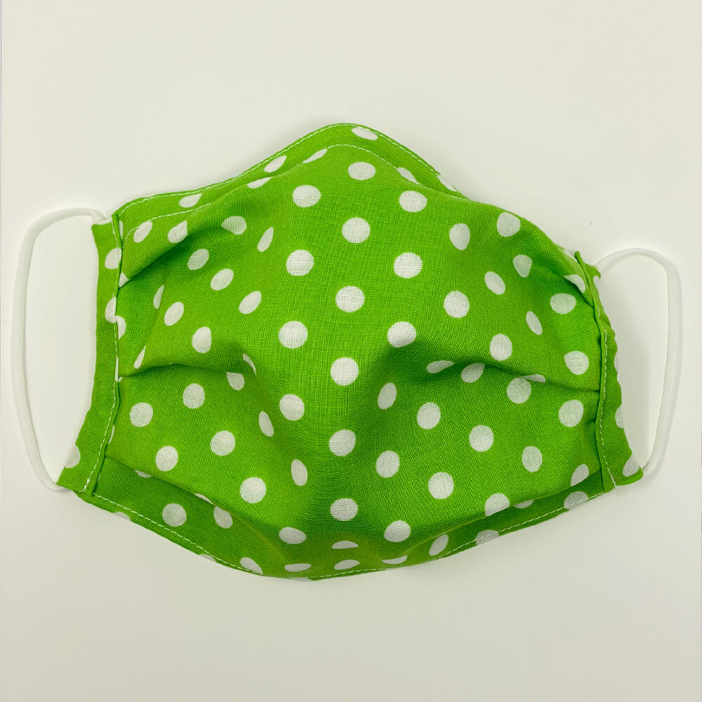 Face Mask - Green with White Dot