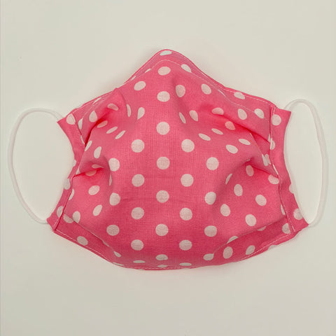 Face Mask - Pink with White Dot