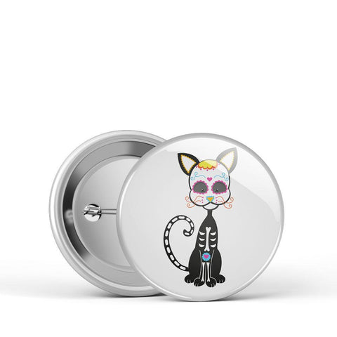 Sugar Skull Kitty Button