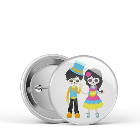 Sugar Skull Couple Button