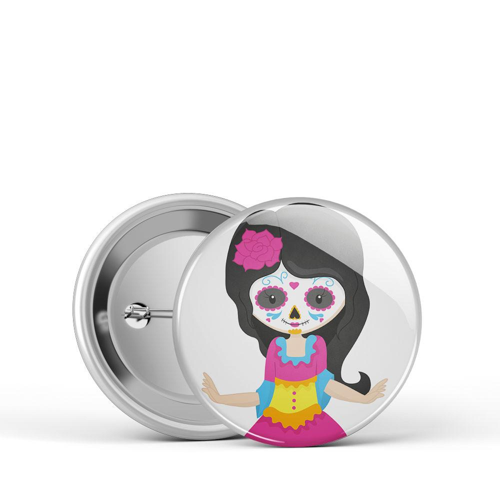Sugar Skull Girl Button