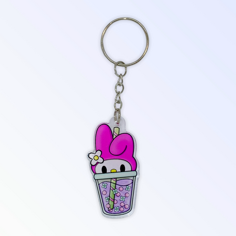 Cute Melodious Boba Acrylic Keychain