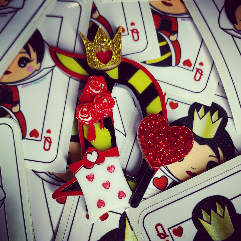 Queen of Hearts Acrylic Character D Brooch