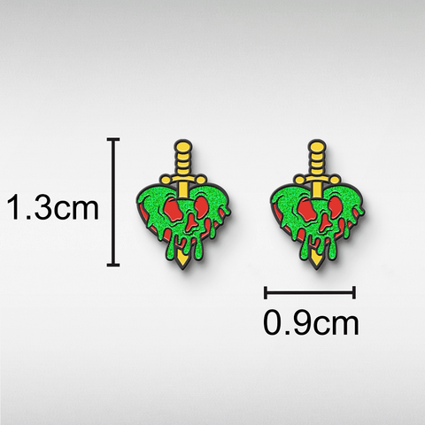 Evil Queen Poison Heart Dagger Stud Earrings