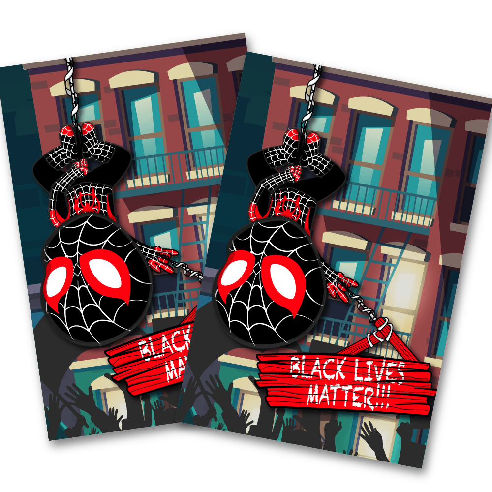 Miles Spiderman Protesting with BLM 4x6 Postcard