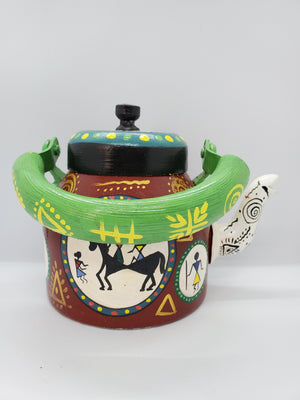 Load image into Gallery viewer, Hand Painted Tea Pot Brown