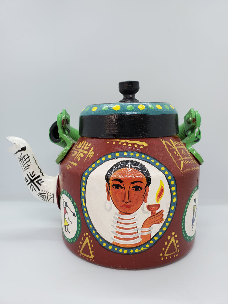 Hand Painted Tea Pot Brown