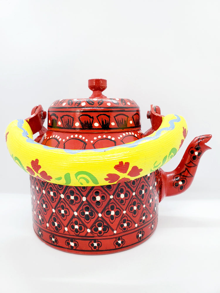 Load image into Gallery viewer, Hand Painted Tea Pot Red