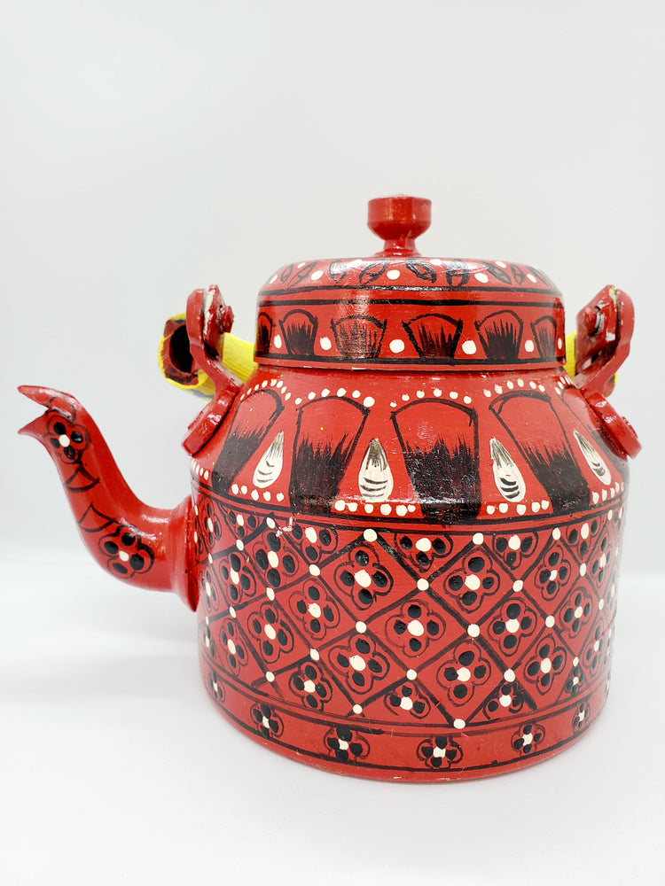 Hand Painted Tea Pot Red