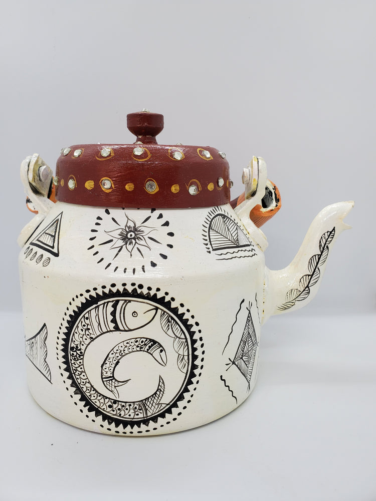 Hand Painted Tea Pot White