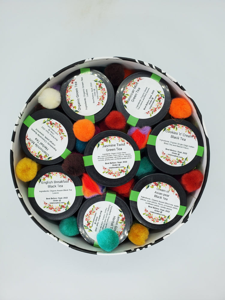 Sampler Box Set with 8 Tea Jars in a Printed Round Box