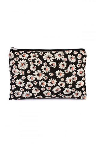 Black Daisy Canvas Pouch