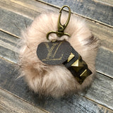 Upcycled Pom Keychain in Mauve