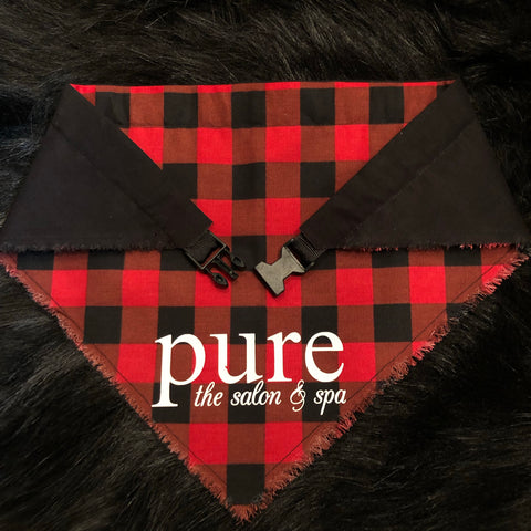 Buffalo Check Pet Bandana (Small Red)
