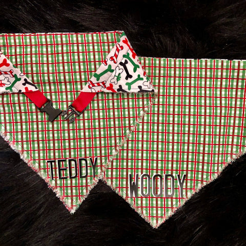 Green/Red Plaid Pet Bandana