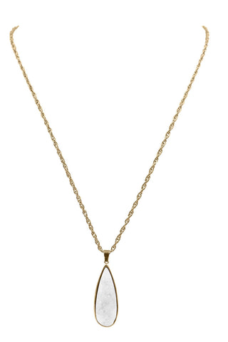 Quartz Drop Necklace (Gold)