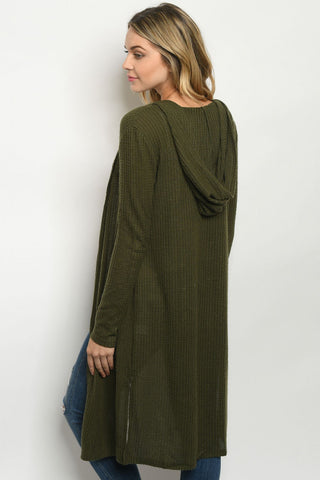Olive Waffle Knit Duster