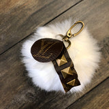 Upcycled Pom Keychain in White