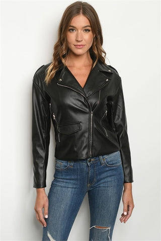 Black Studded Pleather Jacket