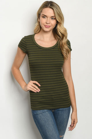 Striped Olive Ribbed Tee