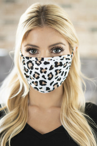 Unisex Mini Tan Leopard Reusable Mask