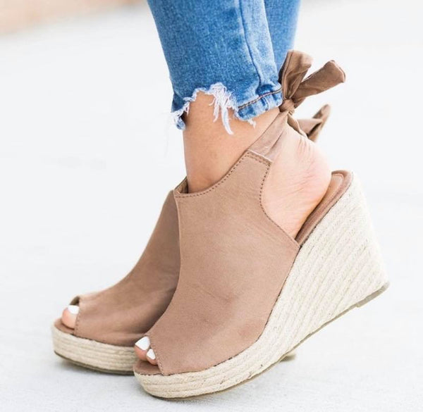 Carly Tan Wedge Sandals