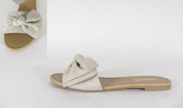 Clay Bow Tie Slide on Sandals