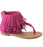 HOT PINK KIDS FRINGE SANDALS