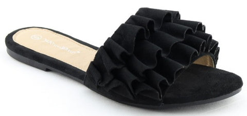 Woman's Black Ruffle Sandals