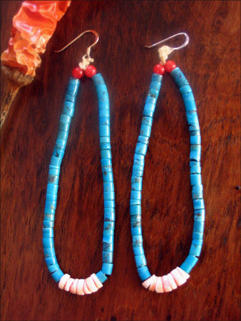 Long Navajo Jacla Turquoise Earrings