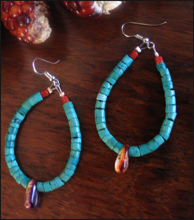 Handsome Navajo Jacla Turquoise Earrings with Coral