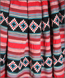 Dazzling Red, Black and Turquoise, Two Row Seminole Patchwork Skirt