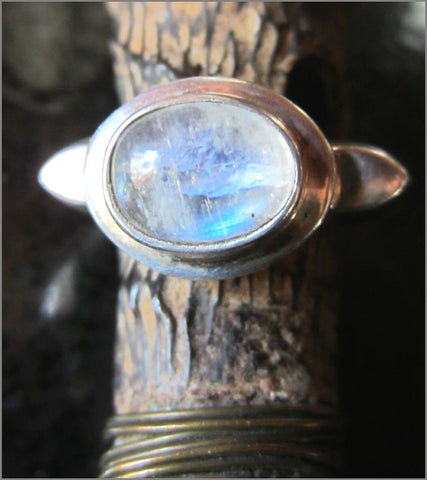 Sculptural Rainbow Moonstone Dome Ring from Nepal