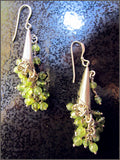Long Peridot Cluster Dangle Earrings in Sterling Silver