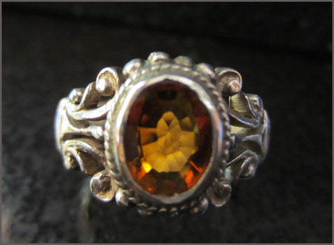 Handmade Sterling Filigree Ring with Deep Golden Citrine