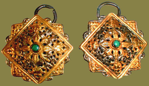 Pair of Gold-washed Fibulae with Turquoise from Bhutan