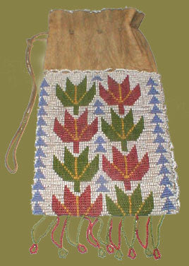 Old Ojibwe Beaded Drawstring Bag