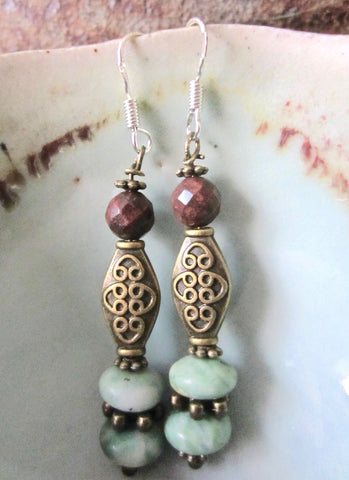 Elegant Mint Jade and Russet Jasper Dangle Earrings