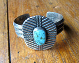 Distinctive Navajo Silver and Turquoise 4 Directions Bracelet