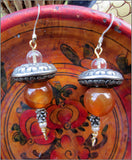 One of a Kind Vintage Carnelian and Pearl Earrings
