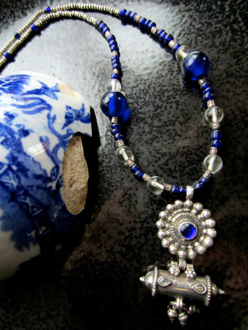 Vintage Indian Silver Amulet Necklace with Antique Cobalt Glass