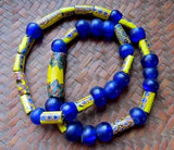 Antique Venetian Yellow and Dutch Cobalt African Beads