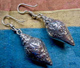 Embossed Silver Tibetan Conch Shell Earrings