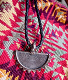 Engraved Tribal Silver Crescent Pendant on Black Leather