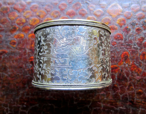 Wide Engraved Sterling Cuff from the Himalayas