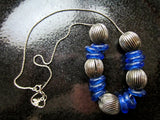 Vintage Tribal Silver Necklace with Antique Dutch Cobalt Beads