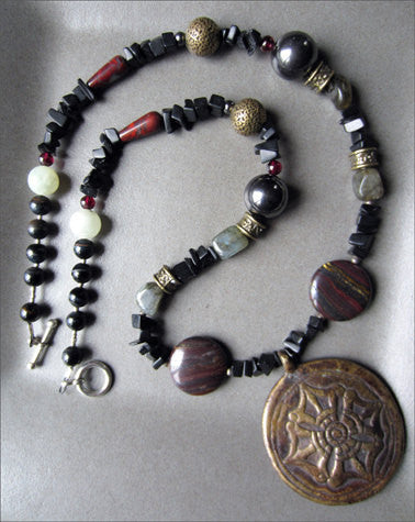 Tibetan Dorje Pendant on Long Gemstone Strand