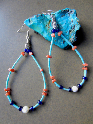 Long Loops of Fine Turquoise, Coral and Antique Cobalt Beads