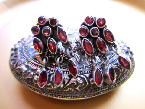 Vintage Faceted Garnet Post Earrings from India