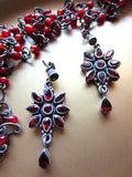 Vintage Indian Faceted Garnet Starflower Dangles